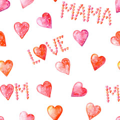 Watercolor seamless pattern with words MOM, MAMA, LOVE from cute pink and pink dot hearts, and hearts on a white background. I love you, mom. Illustration. Happy mother's day.