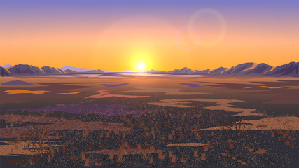 Landscape with field or plain, desert landscape, sunset or dawn Wall mural