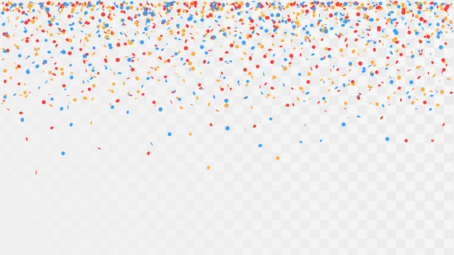 Falling confetti on a transparent background, celebration and festival, fun decoration