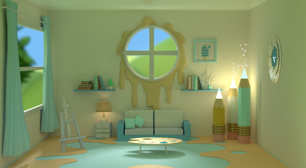 artists creative living room