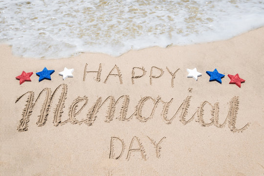 Memorial day background on the beach near ocean