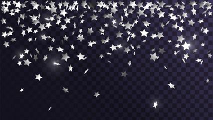Falling silver stars confetti on a transparent background, celebration and festival, fun decoration