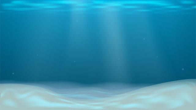 Vector background with empty sea sand bottom. Under water. Ocean, underwater world
