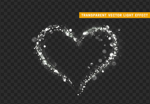 glitter white light shape heart.
