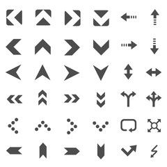 Arrow Icons Set Collection Isolated on  White Background