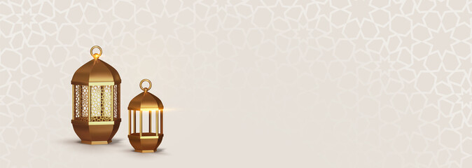 Realistic 3d Design arabian gold vintage lantern.