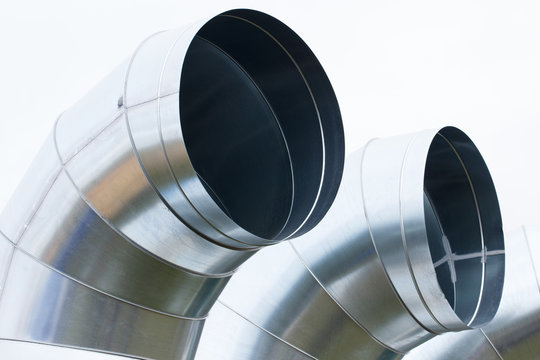 Steel air ducts pipe for ventilation or conditioning system, technology concept