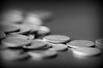 American cents on a dark background close up. Black amd white Fototapete