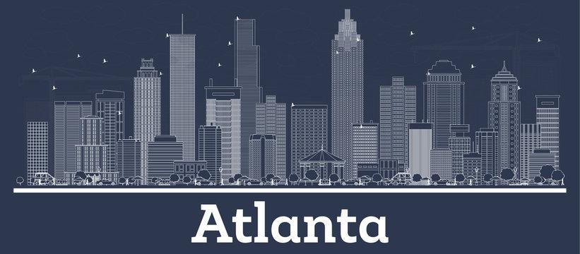 Outline Atlanta Georgia City Skyline with White Buildings.