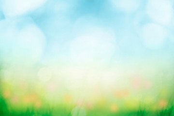 Wall Mural - Abstract background with green grass and flowers over sunny blue sky