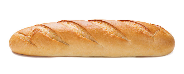 Freshly baked baguette isolated on white background. Wall mural