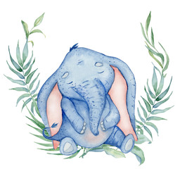 Watercolor cute elephant with floral decor animal illustration