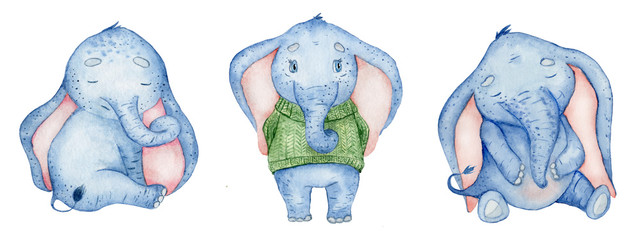 Watercolor set with cute elephants animal illustration