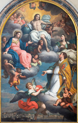 Fototapete - CATANIA, ITALY - APRIL 7, 2018: The paintng Resurected Jesus, Virgin Mary and St. Agatha in Apotheosis of st.  Emygdius (Emidio) in church Chiesa di San Agostino by Pietro Paolo Vasta (1761).
