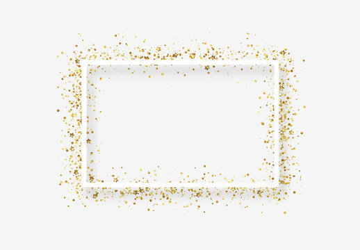 Decorative frame with glitter tinsel of confetti.