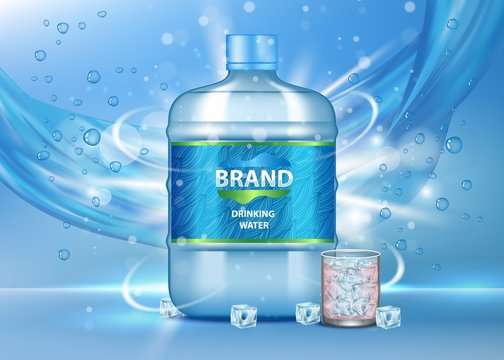 Pure drinking water ad vector realistic illustration