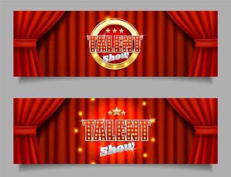Talent show vector horizontal banner template set
