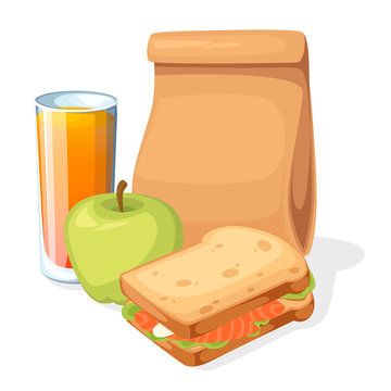 Lunch paper bag with juice, apple and sandwich. Recycle brown paper bag. Flat vector illustration isolated on white background