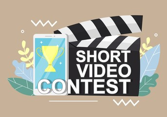 Mobile short video contest vector concept for web banner, website page