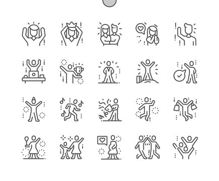 Joyful people Well-crafted Pixel Perfect Vector Thin Line Icons 30 2x Grid for Web Graphics and Apps. Simple Minimal Pictogram