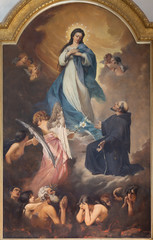 Fototapete - CATANIA, ITALY - APRIL 6, 2018: The painting of Virigin Mary and the souls in purgatory in church Chiesa di San Francesco d'Assisi all'Immacolata by Pasquale Lotta (1900).