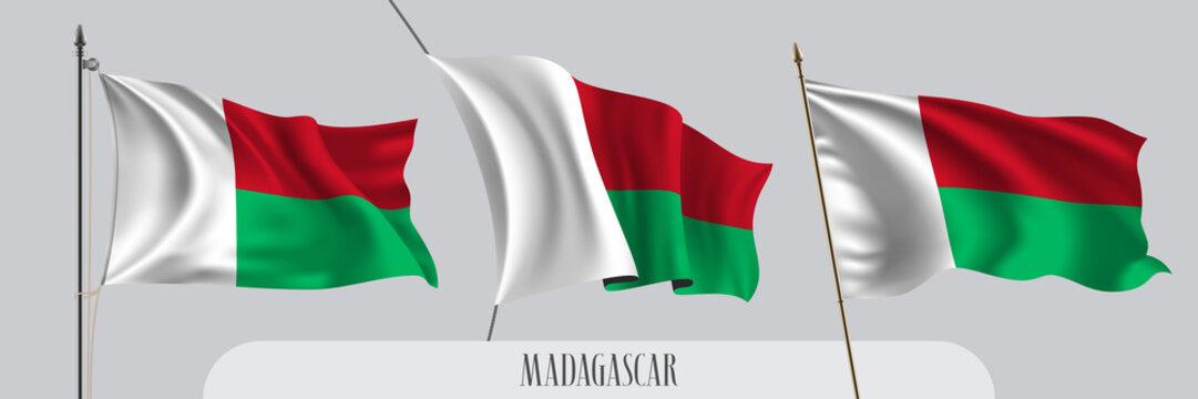 Set of Madagascar waving flag on isolated background vector illustration