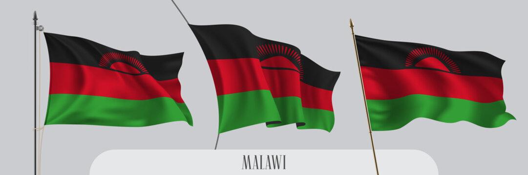 Set of Malawi waving flag on isolated background vector illustration