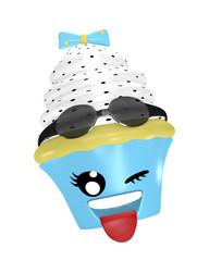 Kawaii Emoticon als Cupcake mit zwinkernden Auge und rausgestreckter Zunge.
