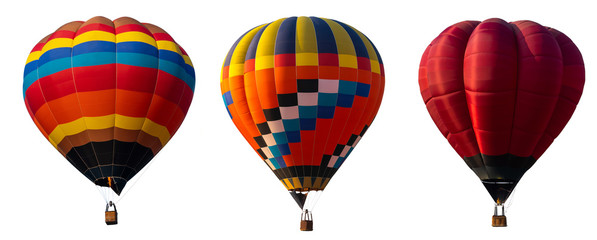 Photo sur Aluminium Montgolfière / Dirigeable Isolated photo of hot air balloon isolated on white background.
