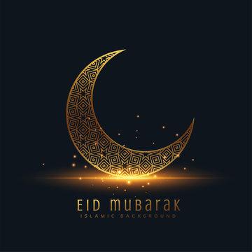 beautiful eid mubarak golden decorative moon greeting