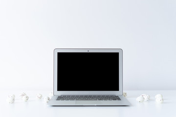Open laptop and easter eggs on the desk with white background