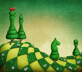 Fantasy green chess background with topiary figures in the form of chess.
