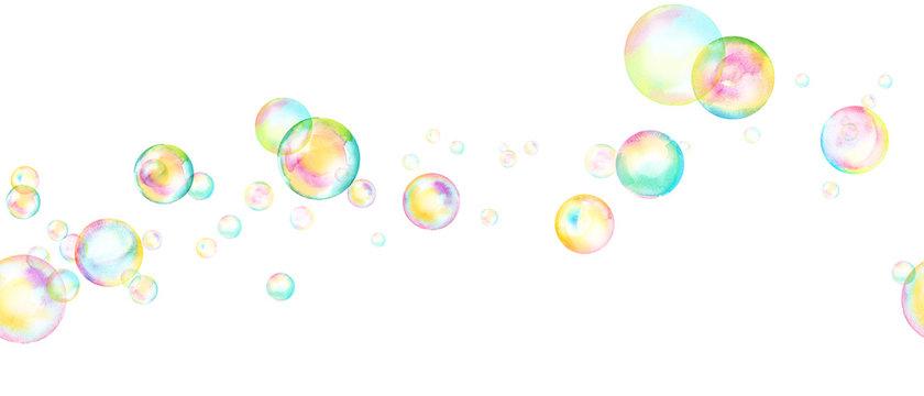 風に流れるシャボン玉の水彩イラスト。シームレスパターン。