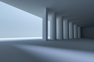 3d rendering, white interior building structure