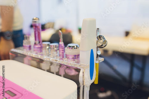 Closeup of cosmetology equipment in modern aesthetic clinic