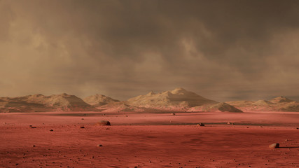 Photo Stands Magenta landscape on planet Mars, dust storm on the red planet