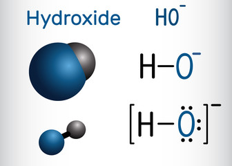Hydroxide anion. Structural chemical formula and molecule model