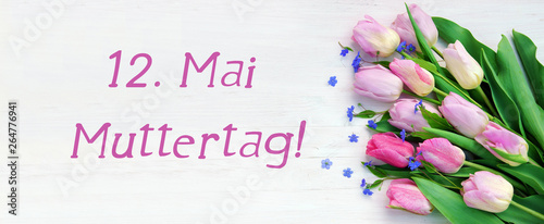 May 12, mothers day, tulips, forget-me-not, banner, header, headline, copy space