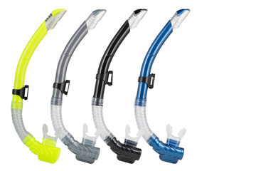 four breathing tubes for diving, of different colors, lined up, on a white background