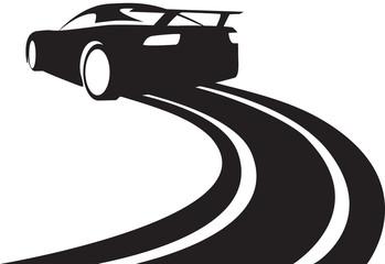 race track car graphic black silhouette
