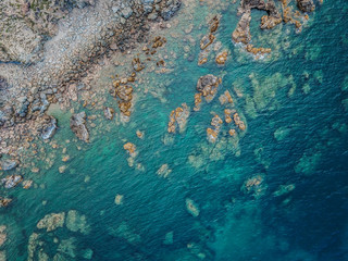 Amazing blue ocean and rocks in Eo Gio, Quy Nhon, Binh Dinh, Vietnam. Top view from Drone.