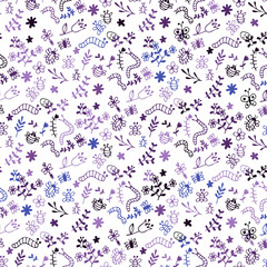 Seamless Doodle vector pattern: bugs, spiders, butterflies, dragonfly, bee, caterpillar, grass, flowers