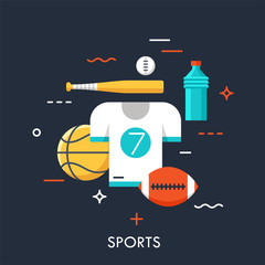 Sports equipment for player, sporting goods and sportswear shop logo. Championship, tournament, competition concept. Vector illustration in flat style for website, banner, poster, presentation.