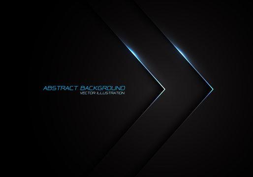 Abstract silver line blue light arrow direction on black design modern luxury futuristic background vector illustration.