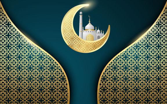 Ramadan Kareem Greeting card design Arabic Calligraphy - Vector