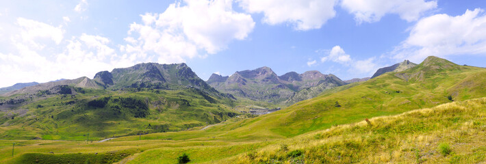 panoramic view from the Aubisque pass, mountain pass of the French Central Pyrenees, culminating at 1,709 meters. Nouvelle Aquitaine region