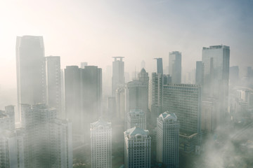 Severe air pollution with skyscrapers