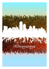Wall Mural - Albuquerque Skyline Blue and White