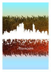 Wall Mural - Asuncion skyline Blue and White