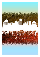 Wall Mural - Athens Skyline Blue and White